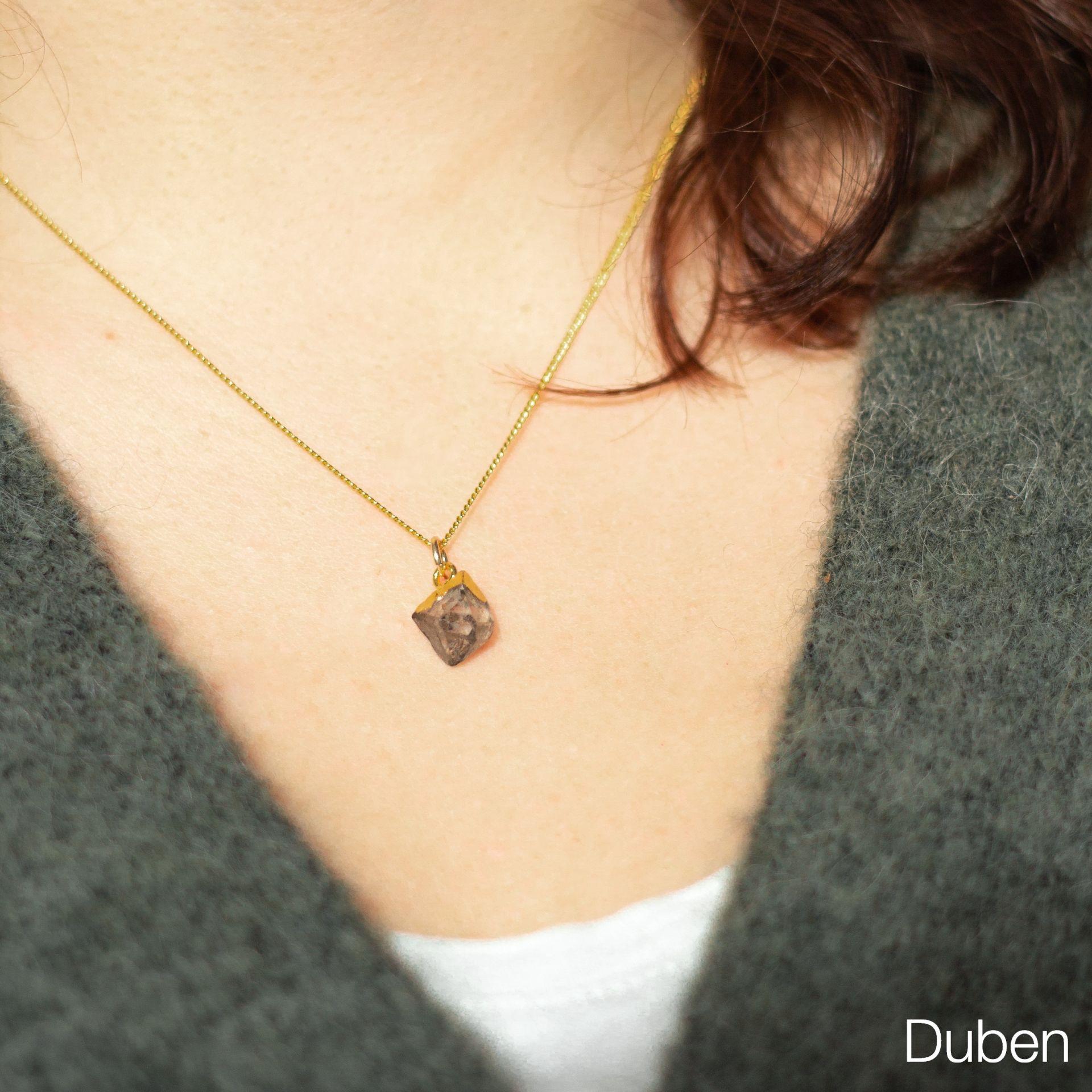 DECADORN Pozlacený řetízek s narozeninovým kamenem Birthstone Duben - herkimer, multi barva, zlatá barva, kov, kámen