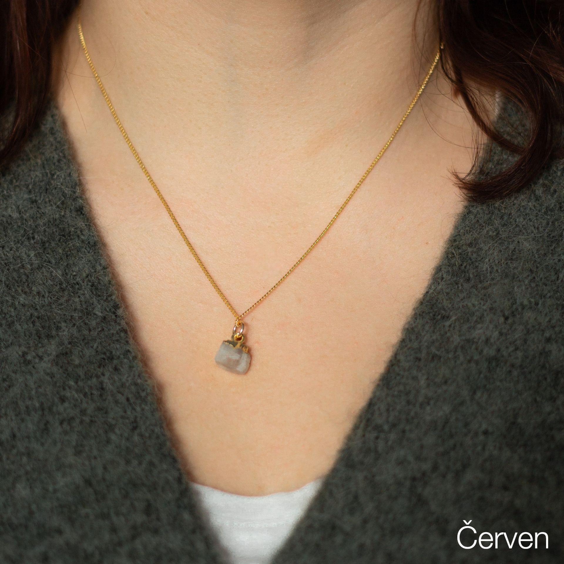 DECADORN Pozlacený řetízek s narozeninovým kamenem Birthstone Červen - měsíční k., multi barva, zlatá barva, kov, kámen