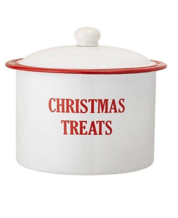 Bloomingville Vánoční kovová dóza Christmas Treats Christmas Treats, červená barva, bílá barva, kov
