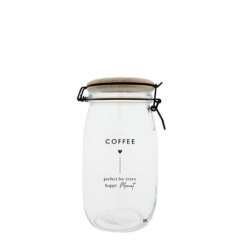 Bastion Collections Skleněná úložná dóza s víkem 1,4 l Coffee, čirá barva, sklo