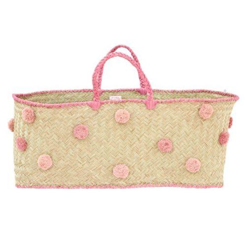 rice / XXL košík s pom pomami Raffia & Pink