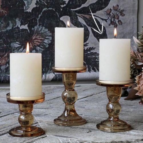 Chic Antique / Sklenený svienitk Candlestick Caramel 11,5 cm