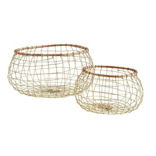 MADAM STOLTZ / Drôtený kôš Bamboo & Antique Brass