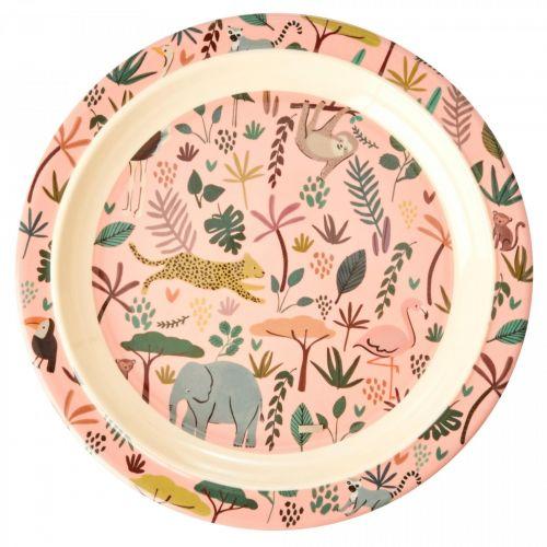 rice / Melamínový tanier Jungle Animals Coral 22,5 cm