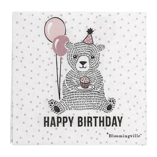 Bloomingville / Papierové obrúsky Happy Birthday Rose - väčšie