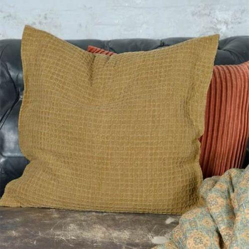Jeanne d'Arc Living / Bavlnená obliečka na vankúš Dark Brown Vaffle 50x50cm
