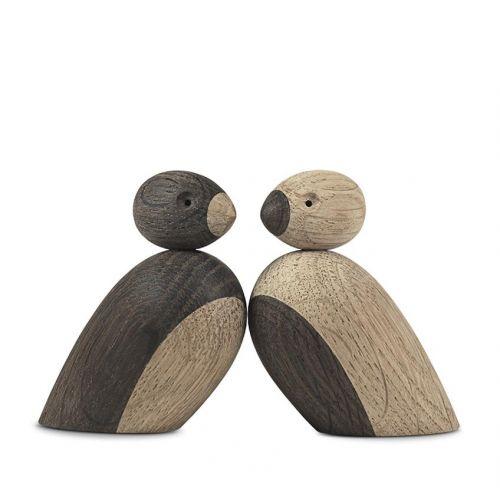 Kay Bojesen Denmark / Drevený vtáčik Natural and Smoked Oak Wood - Set 2 ks