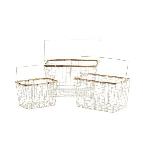 MADAM STOLTZ / Drôtený košík s uchom Bamboo Cream