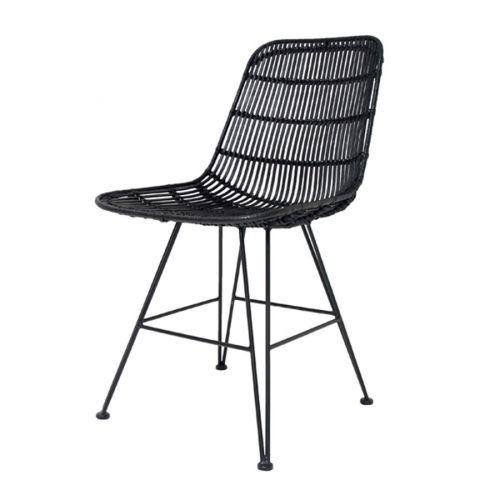 HK living / Jedálenská ratanová stolička - Iron Black