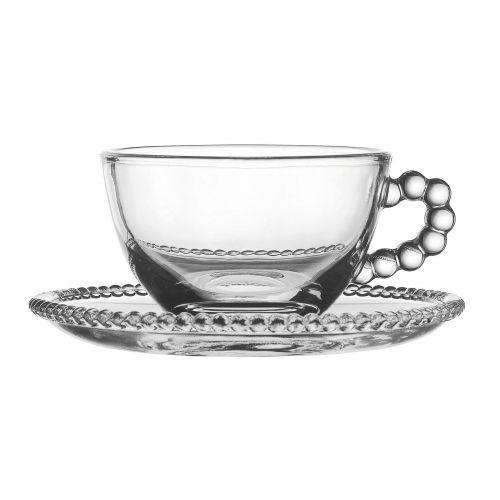 CÔTÉ TABLE / Sklenená šálka s tanierikom Pearl