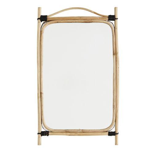 MADAM STOLTZ / Obdĺžnikové zrkadlo v bambusovom ráme Natural Bamboo
