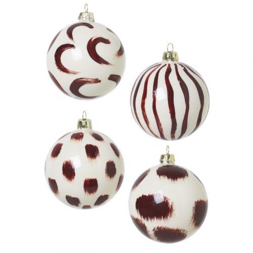 ferm LIVING / Vianočné ozdoby White & Brown Set 4 ks
