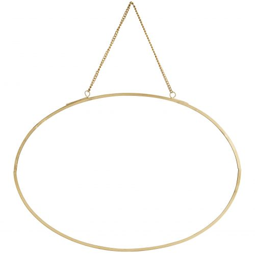 MADAM STOLTZ / Závesné oválne zrkadlo Gold - na šírku