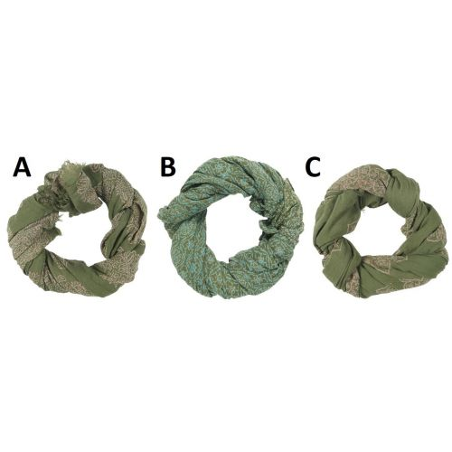 IB LAURSEN / Bavlnená šatka Green Ornament Combinations