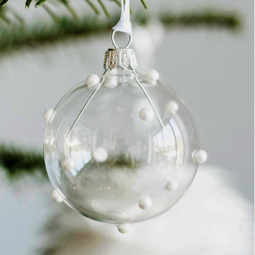 GLASSOR / Sklenená vianočná ozdoba Pearls Clear - 6 cm