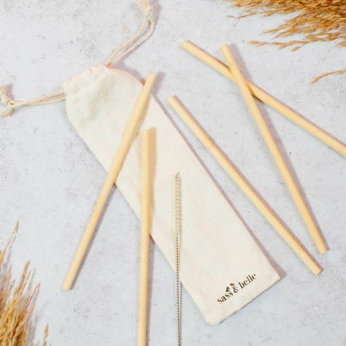 sass & belle / Bambusové slamky s kefkou - set 6 ks