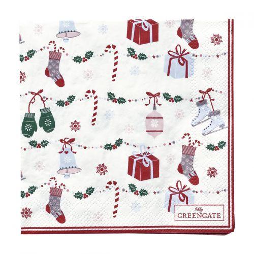 GREEN GATE / Papierové obrúsky Jingle Bell White - malé