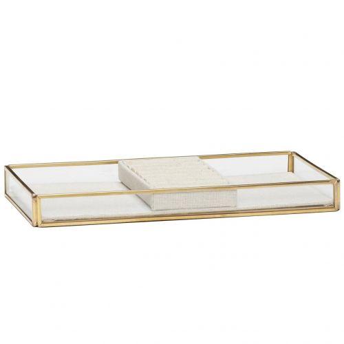 Hübsch / Sklenený box Brass Glass Nature