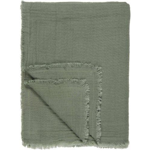 IB LAURSEN / Bavlnený pléd Dusty Chalk Green 130×170 cm