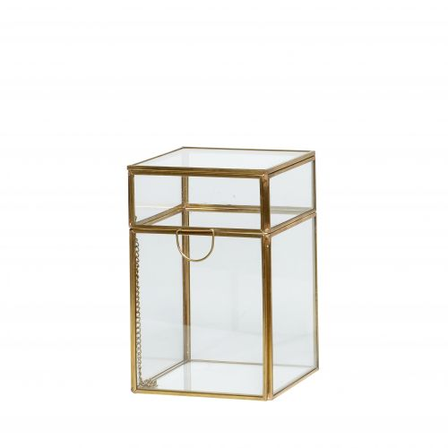 Hübsch / Sklenený box Brass Small