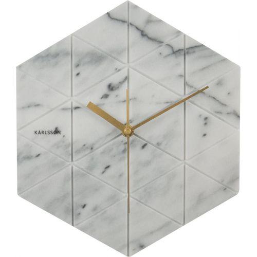 Karlsson / Mramorové hodiny Hexagon White