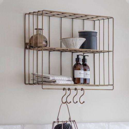 Garden Trading / Drôtená polička s háčikmi Brompton Wall Rack