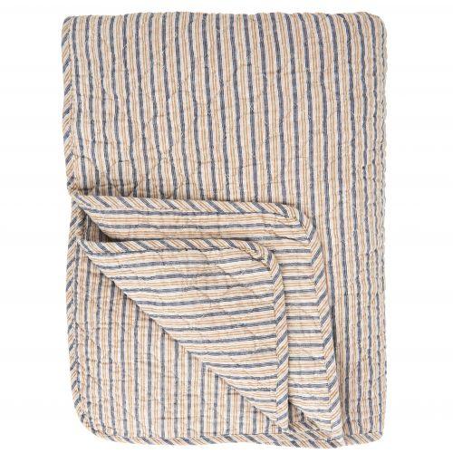 IB LAURSEN / Prešívaná deka Stripes Blue/Beige 130x180 cm