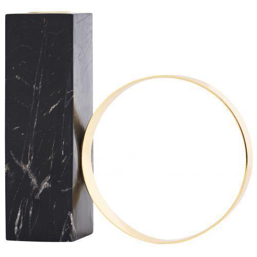 OYOY / Dizajnový svietnik Black Marble & Brass
