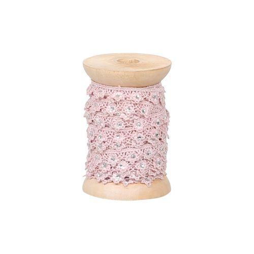 Chic Antique / Krajková stuha s kamínky Rose