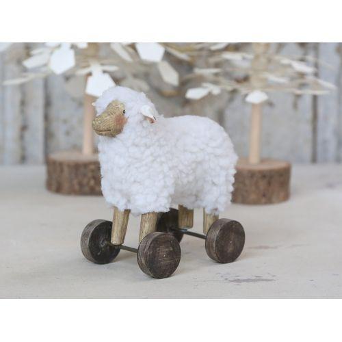 Chic Antique / Dekorácia Sheep on Wheels 13 cm