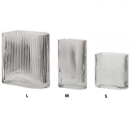 Hübsch / Sklenená váza Clear Grooves