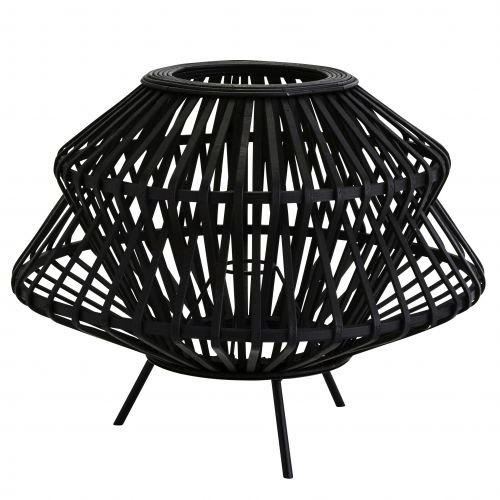 MADAM STOLTZ / Bambusové tienidlo na stolnú lampu Black