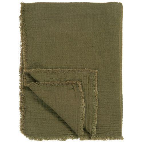 IB LAURSEN / Bavlnený prehoz Double Weaving Olive 130 x 170 cm