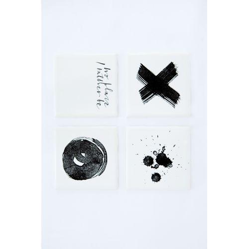 Ylva Skarp / Podtácek/kachlička Black print