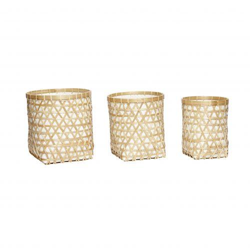 Hübsch / Polyratanový košík s bambusovým výpletom