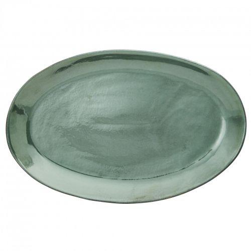 MADAM STOLTZ / Oválny kameninový tanier Sea Green