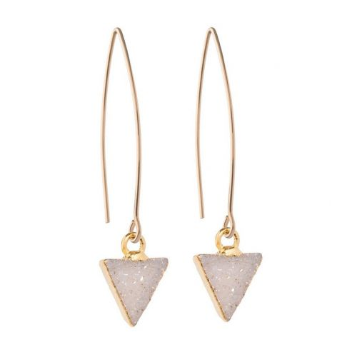DECADORN / Visací náušnice Triangle Light grey/Gold