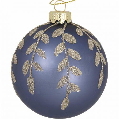 GREEN GATE / Sklenená vianočná ozdoba Mozy Grey Gold 8 cm