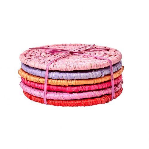 rice / Raffiové podtácky Pink Raffia - 6 ks