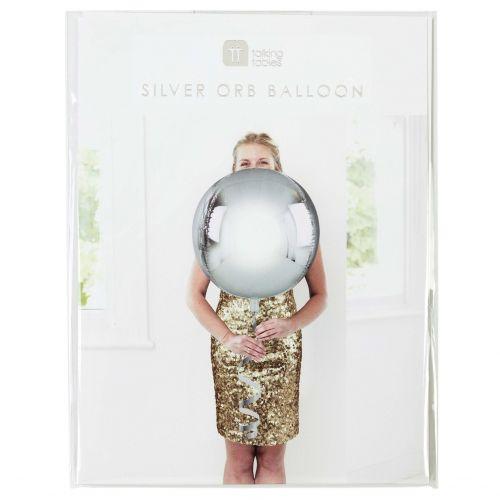 Talking Tables / Nafukovací balón Silver ⌀ 38 cm