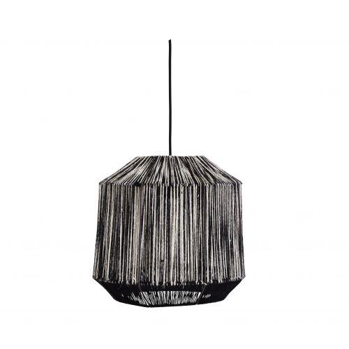 MADAM STOLTZ / Závesná lampa Black/White Jute
