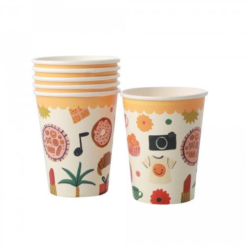 rice / Papierové poháre Celebrate - set 8 ks
