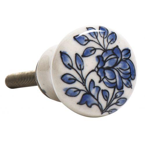 IB LAURSEN / Porcelánová úchytka Flower blue