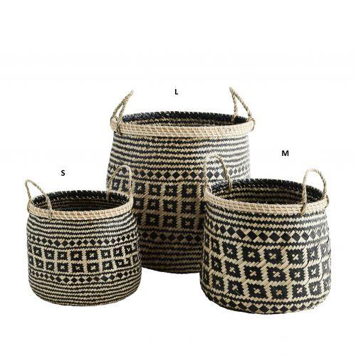 MADAM STOLTZ / Kôš s geometrickým vzorom Seagrass Baskets