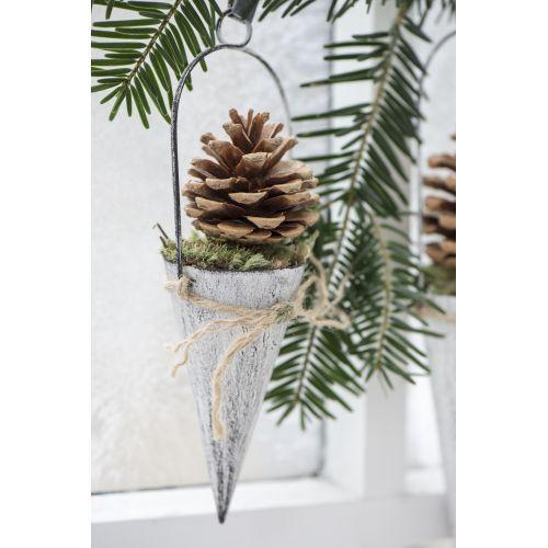 IB LAURSEN / Závěsný kornout na dekorace - bílý 10cm