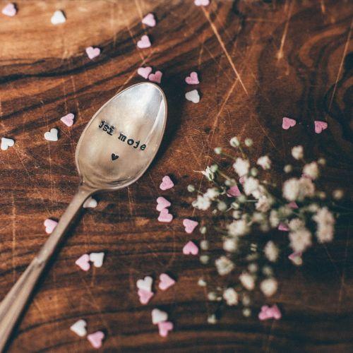 La de da! Living / Postriebrená čajová lyžička Jsi moje srdce