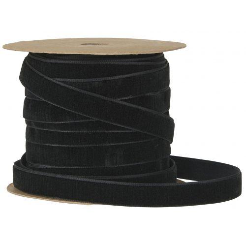 IB LAURSEN / Zamatová stuha na špulke Black - 10m