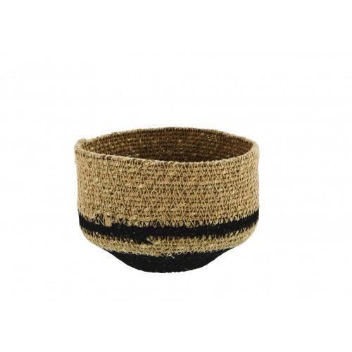 MADAM STOLTZ / Úložný košík Seagrass Black Stripe