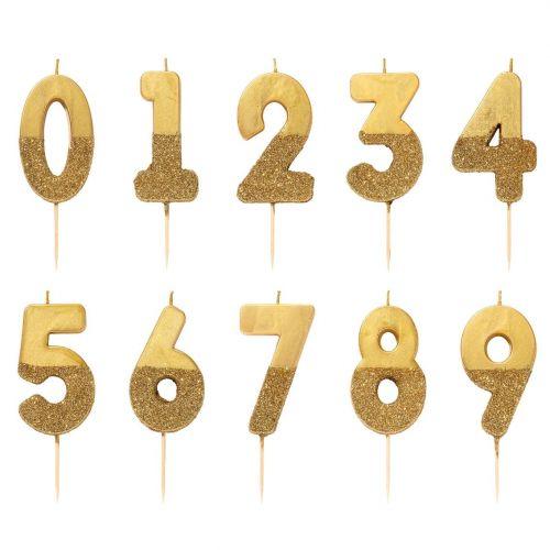 Talking Tables / Narodeninová sviečka Gold Number 8 cm