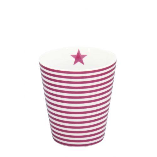 Krasilnikoff / Latte hrnček Thin Plum Stripes